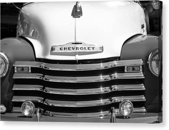Chevrolet Pickup Canvas Print - 1952 Chevrolet Pickup Truck Grille Emblem by Jill Reger