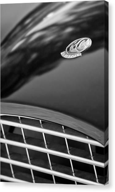 Bristol Canvas Print - 1957 Ac Ace Bristol Roadster Hood Emblem by Jill Reger