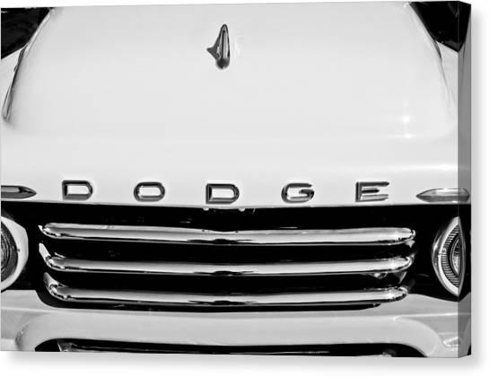 Dodge Canvas Print - 1958 Dodge Sweptside Truck Grille by Jill Reger