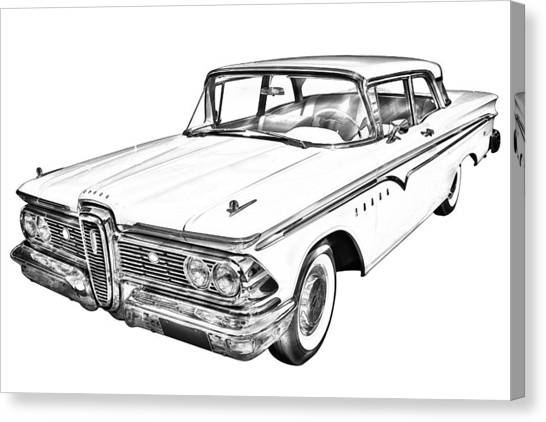 Classic Car Drawings Canvas Print - 1959 Edsel Ford Ranger Illustration by Keith Webber Jr