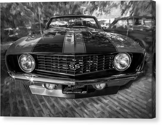 1969 Chevy Camaro Ss Painted Bw Canvas Print