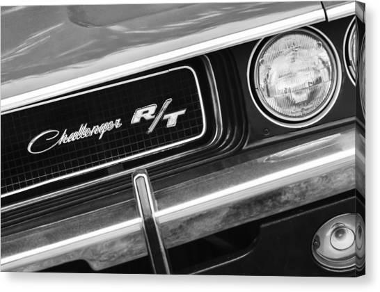Grills Canvas Print - 1970 Dodge Challenger Rt Convertible Grille Emblem by Jill Reger