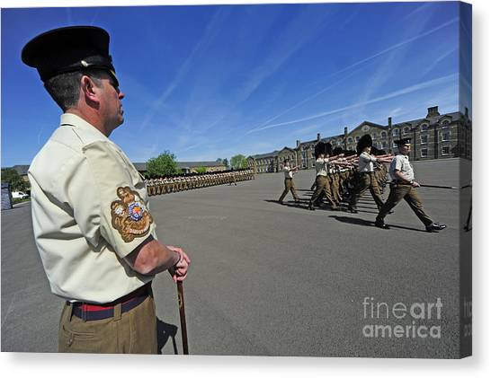 Royal Guard Canvas Print - 1st Battalion Welsh Guards On The Drill by Andrew Chittock