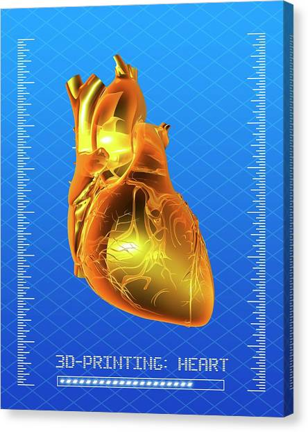 Printers Canvas Print - 3d Printing Of A Human Heart by Alfred Pasieka