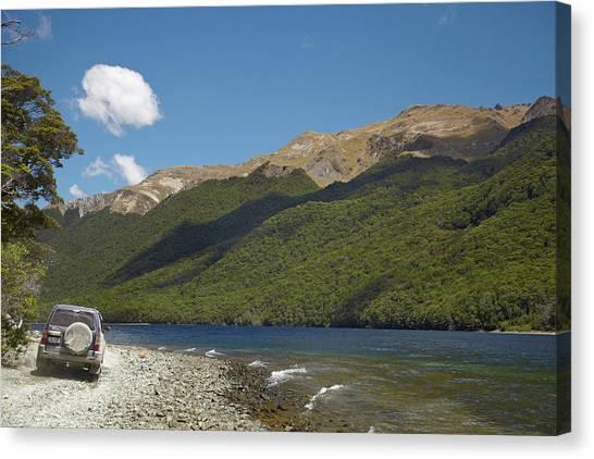 Offroading Canvas Print - 4wd On Track Around North Mavora Lake by David Wall