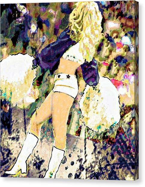 Dallas Cowboys Cheerleaders Canvas Print - 70s Pom Queen by Carrie OBrien Sibley