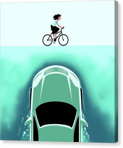 Jaws Canvas Print - A Car Emerges From The Deep Toward A Bicyclist by Christoph Niemann