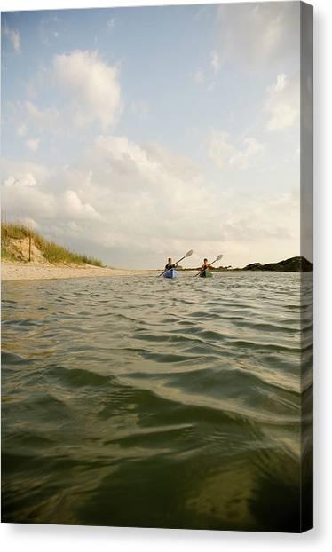 Real Salt Lake Canvas Print - A Couple Paddles Kayaks Together by David Nevala