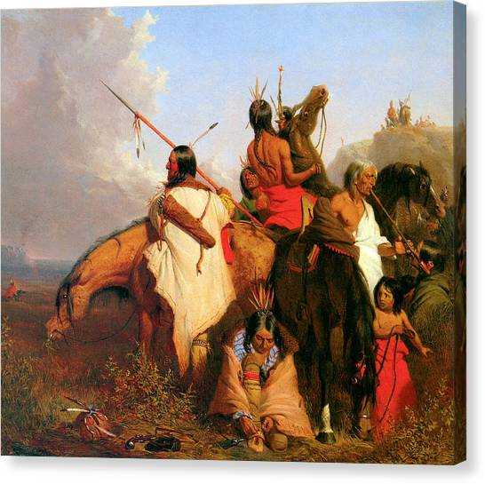 Dea Canvas Print - A Group Of Sioux by Charles Deas