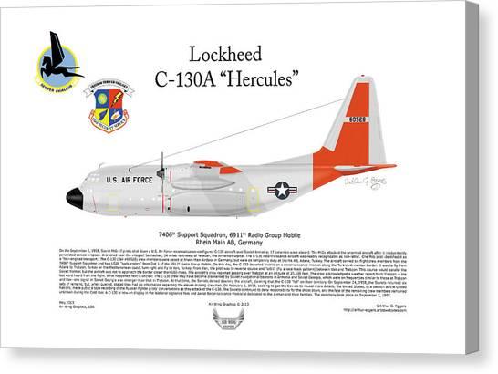 Nsa Canvas Print - A Lockheed C-130a Hercules 60528 by Arthur Eggers
