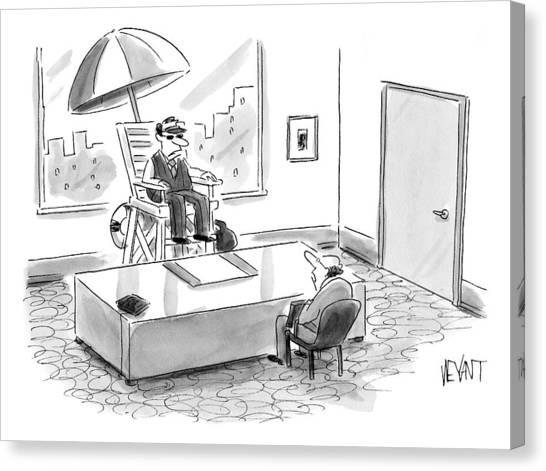 A Man Sits In A Tall Lifeguard Chair Canvas Print