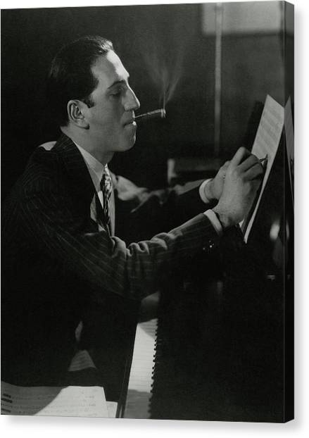 Indoors Canvas Print - A Portrait Of George Gershwin At A Piano by Edward Steichen