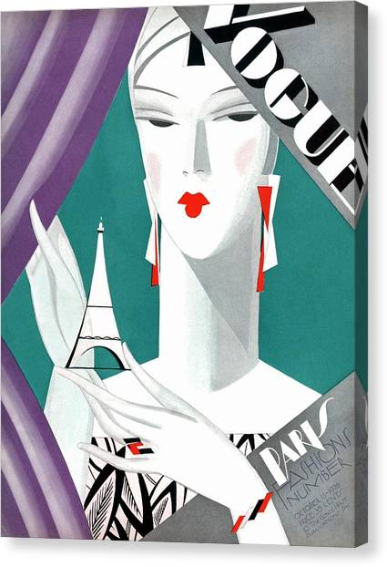 Red Lipstick Canvas Print - A Vintage Vogue Magazine Cover Of A Woman by Eduardo Garcia Benito