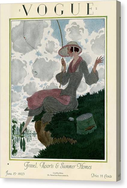 A Vogue Magazine Cover Of A Woman Canvas Print by Pierre Brissaud