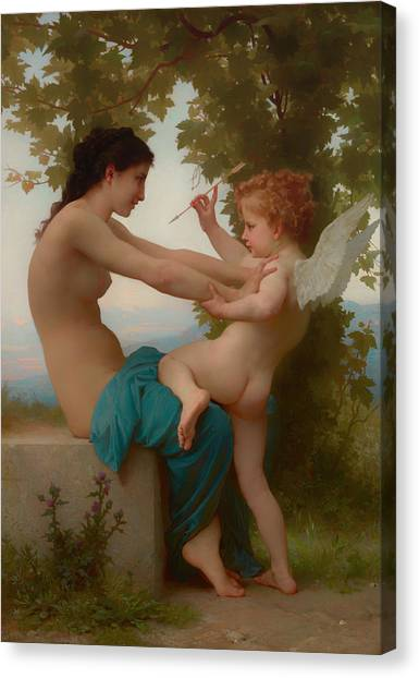 Erotic Framed Canvas Print - A Young Girl Defending Herself Against Eros by William-Adolphe Bouguereau