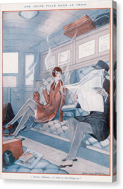 Womens Rights Canvas Print - A Young Woman Smoking In A Train by Mary Evans Picture Library