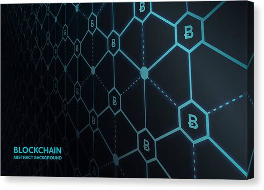 Abstract Blockchain Network Background Canvas Print by AF-studio