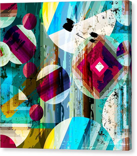 Bright Canvas Print - Abstract Geometric Pattern Background by Kirsten Hinte