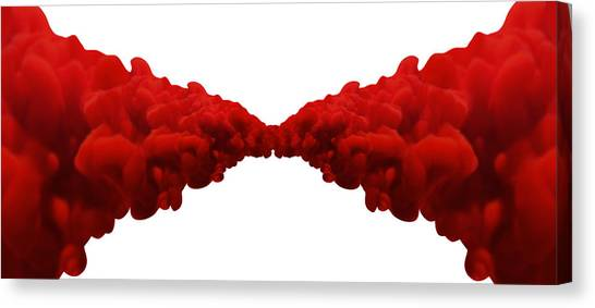 Merge Canvas Print - Abstract Merging Red Inks by Allan Swart