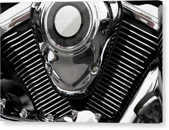 Abstract Motorcycle Engine Canvas Print by Andrew Dernie