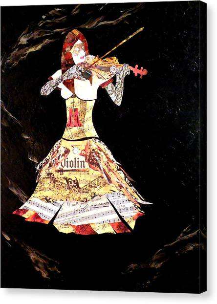 Steampunk Girl Abstract Painting Girl With Violin Fashion Collage Painting Canvas Print