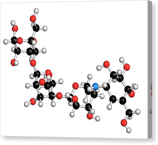 Diabetes Canvas Print - Acarbose Diabetes Drug Molecule by Molekuul