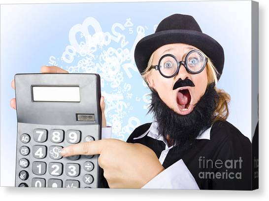 Keypad Canvas Print - Accountant Pointing To Massive Tax Return Saving by Jorgo Photography - Wall Art Gallery