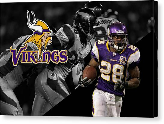 Minnesota Vikings Canvas Print - Adrian Peterson Vikings by Joe Hamilton