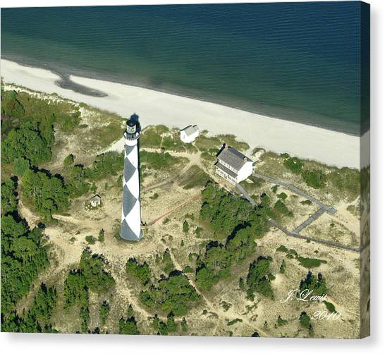 James Lewis Canvas Print - Aerial Of Cape Lookout Lighthouse by James Lewis