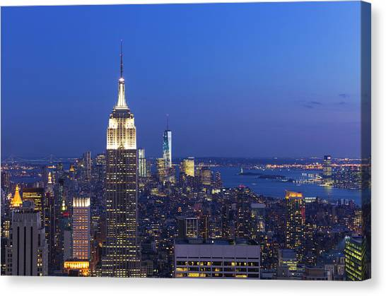 Aerial View Of Empire State And Midtown Canvas Print by Future Light