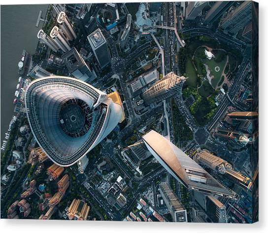Aerial View Of Shanghai Canvas Print by Ansonmiao