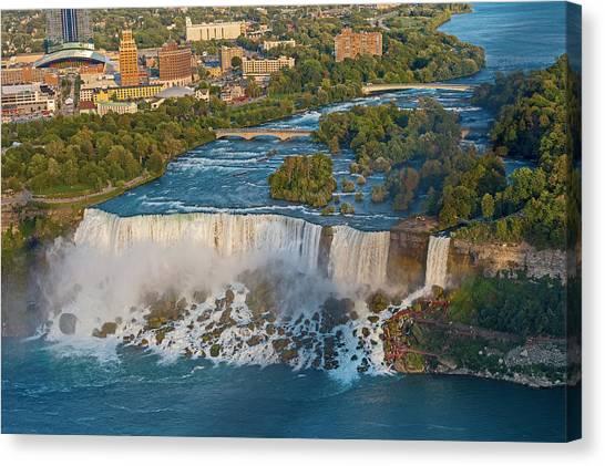 Aerial View On Niagara Falls From Skylon Tower Canvas Print