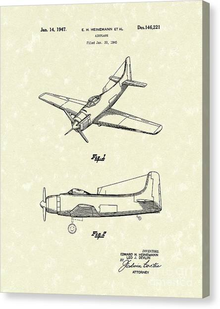 Prop Planes Canvas Print - Airplane 1947 Patent Art by Prior Art Design