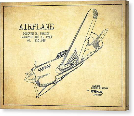 Airplanes Canvas Print - Airplane Patent Drawing From 1943-vintage by Aged Pixel