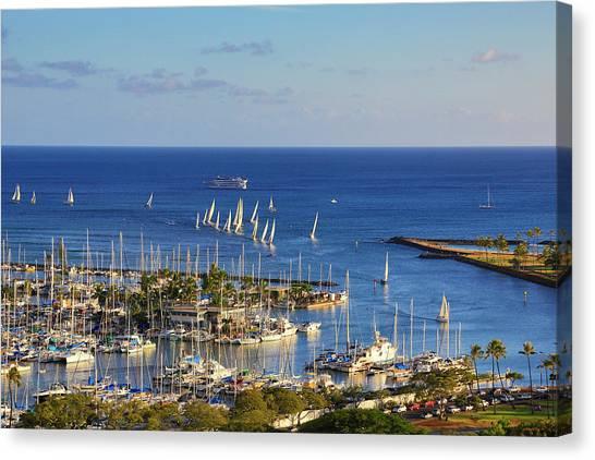 Sailing Race Canvas Print - Ala Wai Yacht Harbor, Waikiki, Oahu by Douglas Peebles