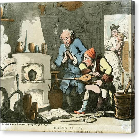 Alchemist At Work Canvas Print by Chemical Heritage Foundation/science Photo Library