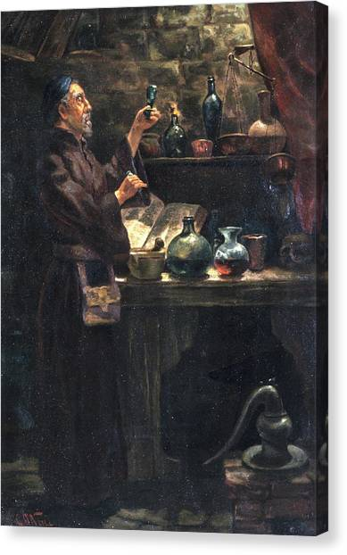 Chemicals Canvas Print - Alchemist At Work by Will Brown/chemical Heritage Foundation/science Photo Library