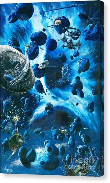 Cosmic Space Canvas Print - Alien Pirates  by Murphy Elliott