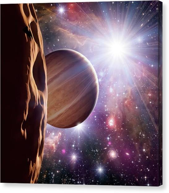 X Ray Canvas Print - Alien Planet And Star Cluster by Detlev Van Ravenswaay