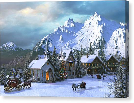 Carriage Canvas Print - Alpine Christmas by Dominic Davison