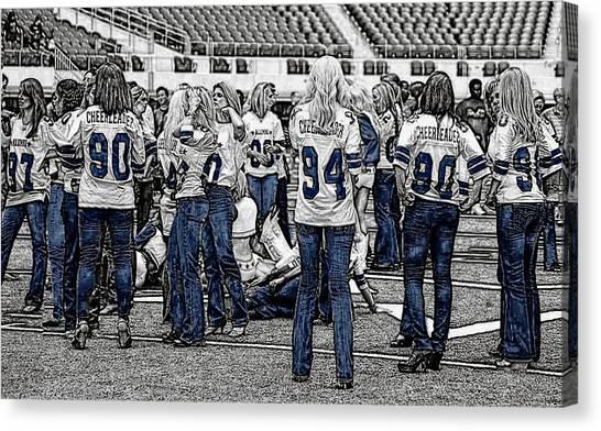 Dallas Cowboys Cheerleaders Canvas Print - Alumni Gathering by Carrie OBrien Sibley