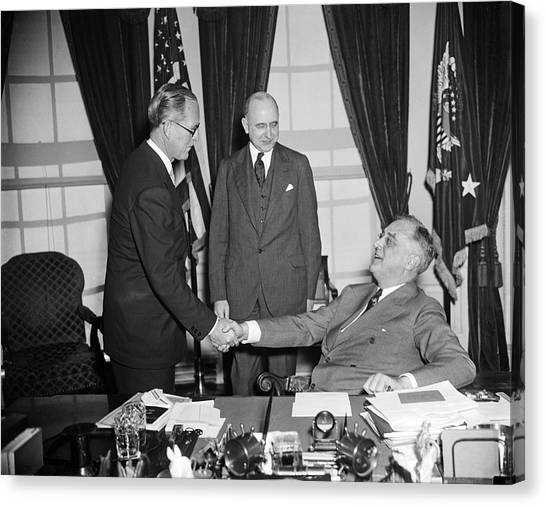 Franklin D. Roosevelt Canvas Print - Ambassador Kennedy by Underwood Archives