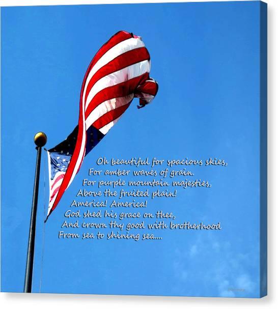 Democratic Canvas Print - America The Beautiful - Us Flag By Sharon Cummings Song Lyrics by Sharon Cummings
