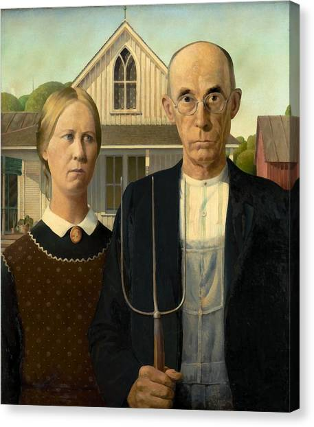 Canvas Print featuring the painting American Gothic by Grant Wood