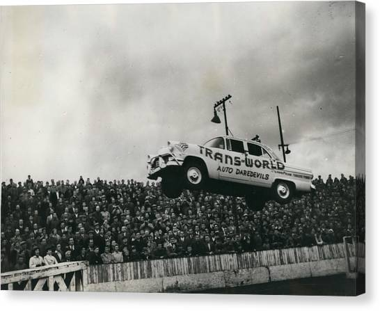 American Stunt Car Drivers Give Displays In Edinburgh Canvas Print by Retro Images Archive