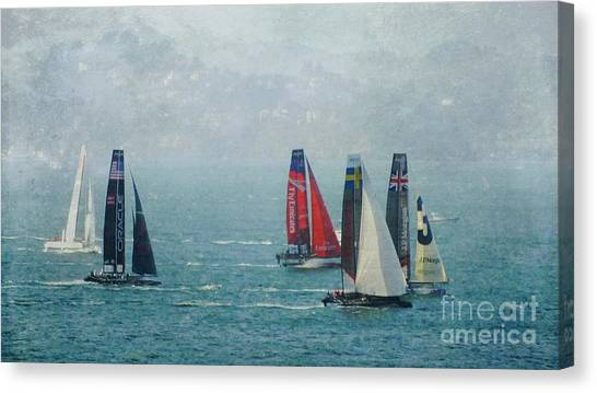 Americas Cup Racing Canvas Print by Scott Cameron