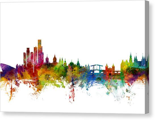 Holland Canvas Print - Amsterdam The Netherlands Skyline by Michael Tompsett