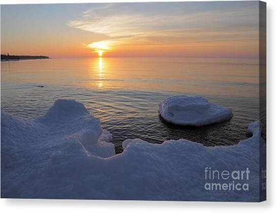 An Icy  Superior Sunrise Canvas Print