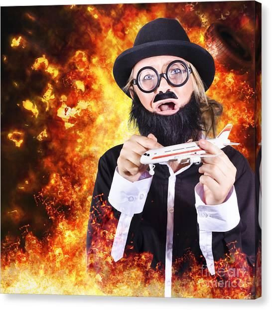 Terrorist Canvas Print - Angry Business Terrorist Hijacking Model Plane by Jorgo Photography - Wall Art Gallery