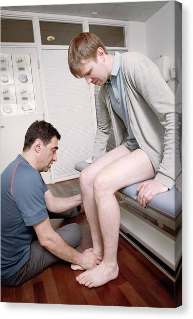 Ankle Physiotherapy Canvas Print by Thomas Fredberg